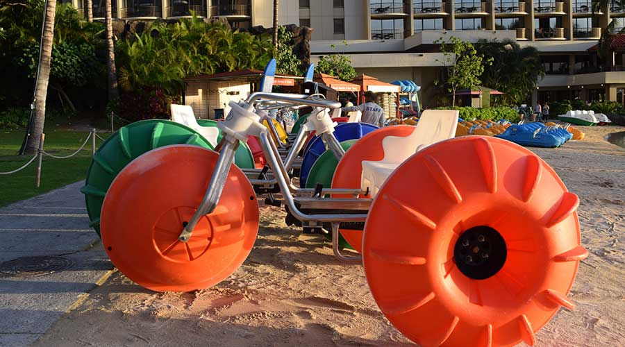 Aqua-Cycle™ Water Trikes at a island resort hotel early in the morning before rentals begin.