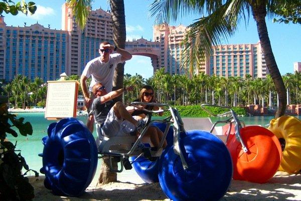 Aqua-Cycle™ Water Trike used at a hotel resort lagoon.