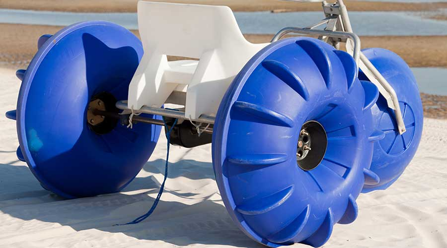 A blue Aqua-Cycle™ Water Trike made in the USA built to last and ready for purchase.