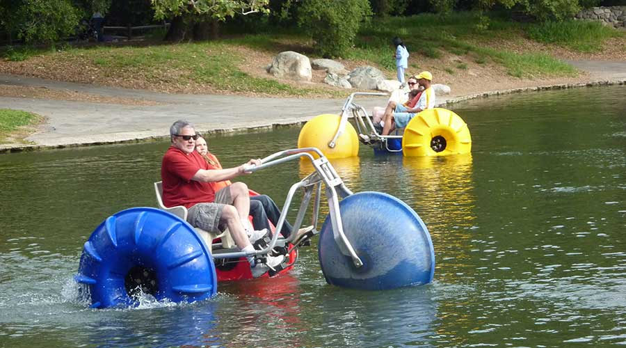 Camp or retreat center using Aqua-Cycle water trikes