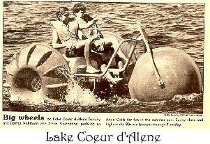 Big Wheel tricycle on Lake Coeur d'alene in Idaho