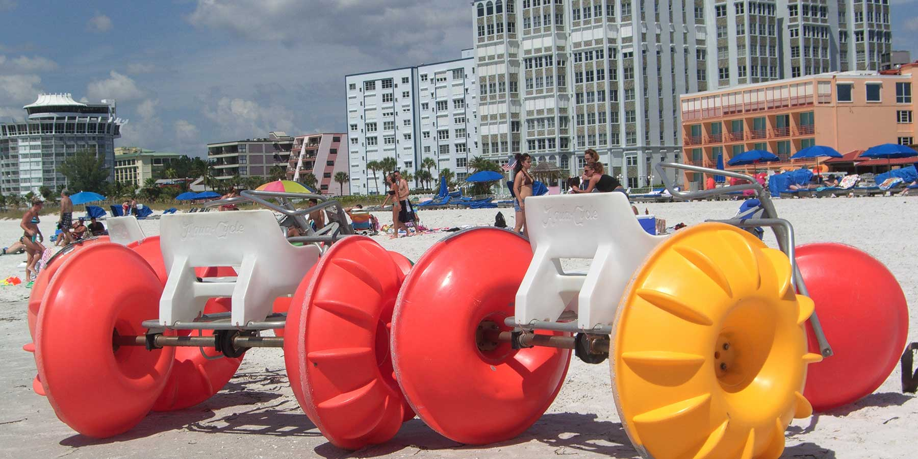 Aqua-Cycles on the beach ready to be rented to tourists.