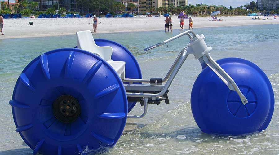 Aqua-Cycle™ Water Trikes renting on the beach by the hour at St. Petersburg Beach in Florida