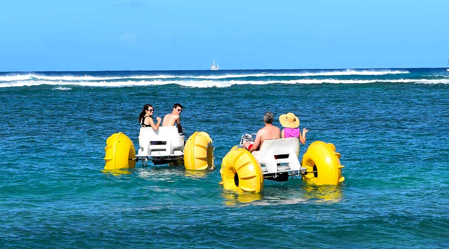 Yellow Big Wheel Aqua cycle Water Trikes at an Island Resort