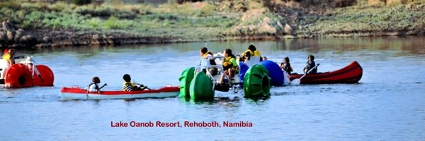 Aqua-Cycle™ Water Trikes at a water recreational equipment rental business on Lake Oanob Resort in Rehoboth, Namibia