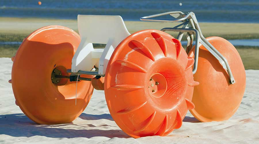 A orange Aqua-Cycle™ Water Trike made in the USA built to last and ready for purchase.