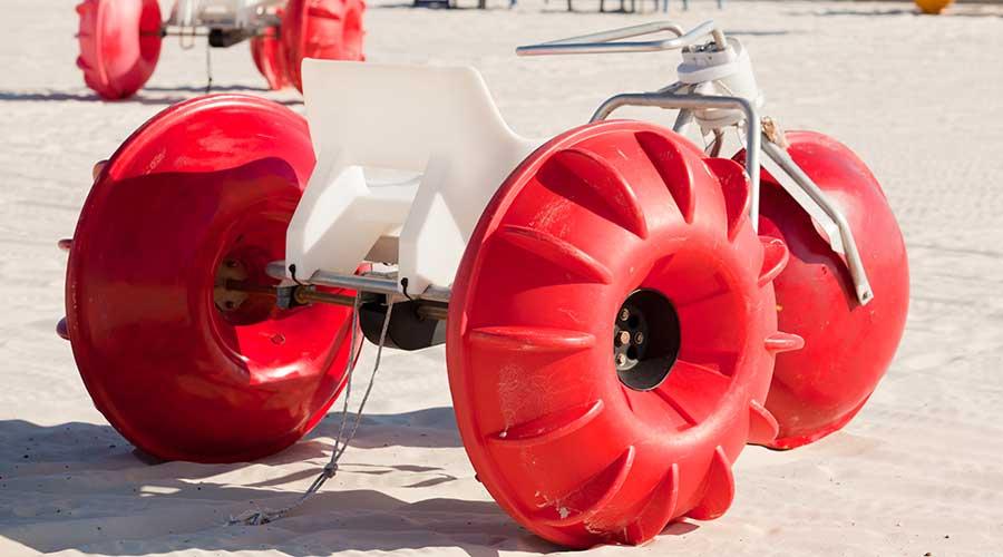 A red Aqua-Cycle™ Water Trike made in the USA built to last and ready for purchase.