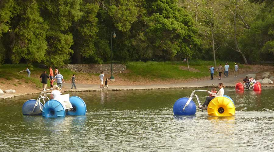 Many big wheeled Aqua-Cycle™ Water Trikes at a pond at a city park with kids and families enjoy the water tricycles.