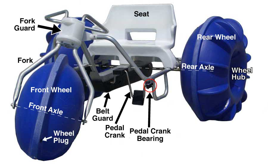 A blue Aqua-Cycle™ Water Trike made in the USA built to last and read for purchase.