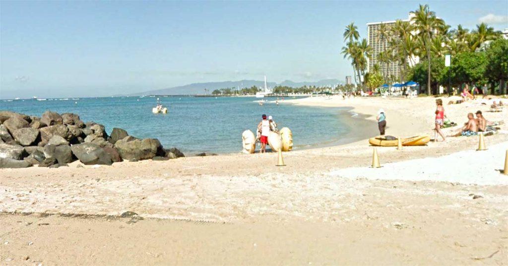 Renting Aqua-Cycle Water Trikes at Waikiki Beach in Hawaii